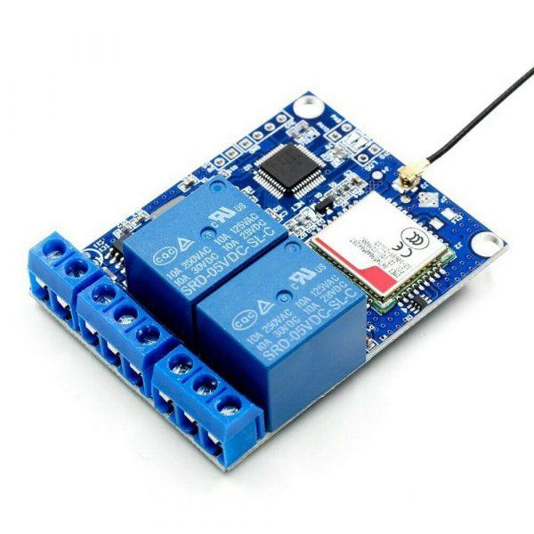 GSM relemodul (2x) fjernstyrt bryter - SMS rele Controller 2-Channel Relay Module Remote GSMrelay10A03