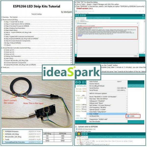 Arduino IDE starter kit med blant annet LED-ring, IR og andre sensorer - NodeMCU/ESP8266 KITled04