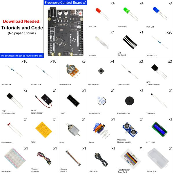 Arduino Starter kit med ultrasonic sensor servomotor osv Freenove Ultrasonic Starter Kit with Control Board (Compatible with Arduino IDE) ArduinoStarterKit01