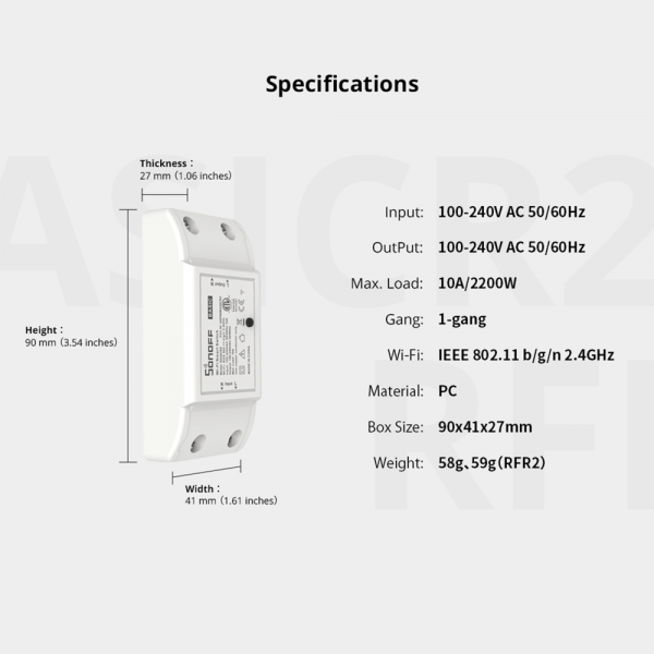 Sonoff ITEAD Smart Home WiFi Wireless Switch relemodul rele Apple Android APP Control SONOFF22001